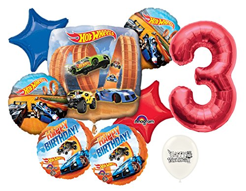 Red Number 3rd Birthday Hot Wheels Racing Cars Party Decorations Balloon Bouquet Bundle ()