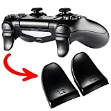 eXtremeRate® 2 Pairs Black Plastic L2 R2 Extended Trigger Gamepad Buttons External Extender Caps Attachment for PlayStation 4 PS4 Controller from Extremerate