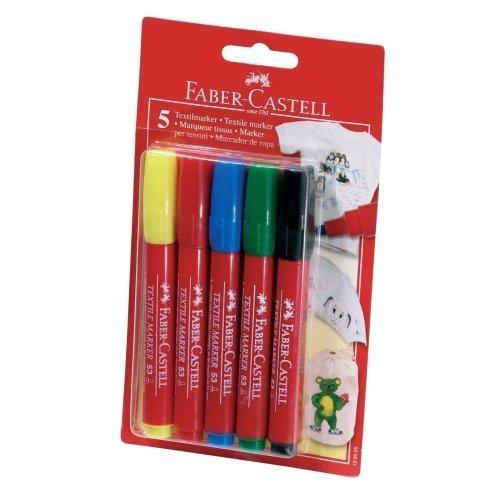 Textilmalstifte, 5 Farben sortiert - Stoffmalstifte Textilstifte Textilmaler