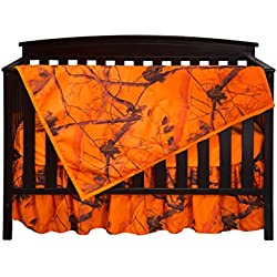 Carstens Real tree AP Blaze Camo 3 Piece Crib Sheet Set, Orange