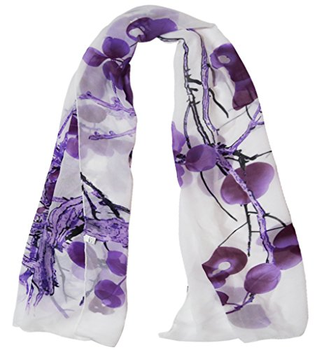 Alysee Women Chinese Classic Style Print Chiffon Long Scarf Shawl Wrap Color Grape