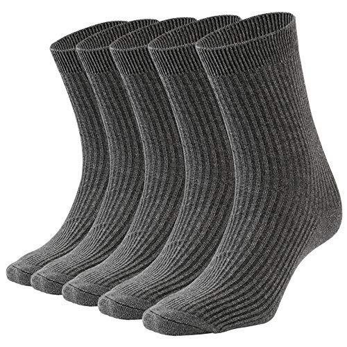 Hospaop 5 Paar Socken Herren Eine Größe Grau,Warme Sportsocken Business Lange mit Baumwolle Haltbarkeit für Sport Freizeit