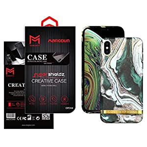 Margoun For apple iPhone XS MAX Marble Design back cover Case - Green/White