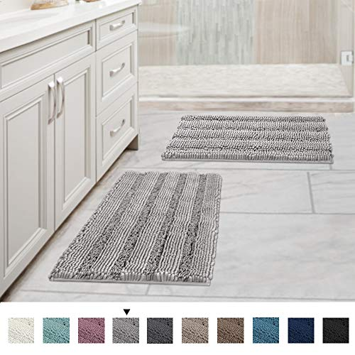 Extra Thick Striped Bath Rugs for Bathroom - (Set of 2) Anti-Slip Bath Mats Soft Plush Chenille Yarn Shaggy Mat Living Room Bedroom Mat Floor Water Absorbent (Dove, 17 x 24 Plus 17 x 24 - Inches) (Inexpensive Kitchen Rugs)