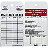 """NMC RPT26ST Tags, """"FIRE EXTINGUISHER RECHARGE & INSPECTION RECORD"""", 6"""" Height x 3"""" Width, Synthetic Paper, Red/Black on White, (Pack of 25)"""