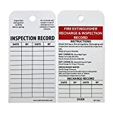 "NMC RPT26ST Tags, ""FIRE EXTINGUISHER RECHARGE & INSPECTION RECORD"", 6"" Height x 3"" Width, Synthetic Paper, Red/Black on White, (Pack of 25)"