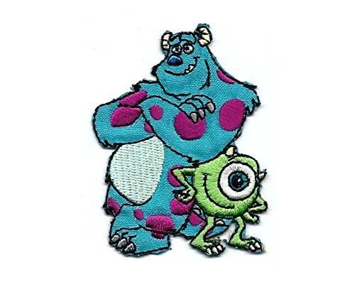James Sullivan Aka Sulley & Mike Wazowski in Monsters Inc Movie Embroidered Iron/sew on Patch Cloth Applique SET of 2 ()