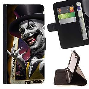 BullDog Case - FOR/HTC One M8 / - / joker card poker scary top hat laugh /- Monedero de cuero de la PU Llevar cubierta de la caja con el ID Credit Card Slots Flip funda de cuer