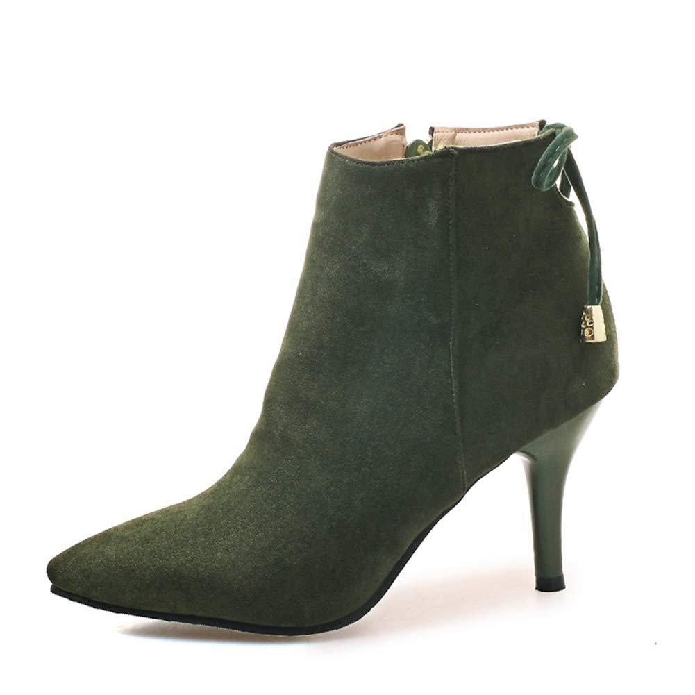 Frauen Warme High Heels Stiefeletten Herbst Innen ReißVerschluss Spitz Zehe Kreuz Gebunden NäHen Weibliche Kurze PlüSch Schuhe