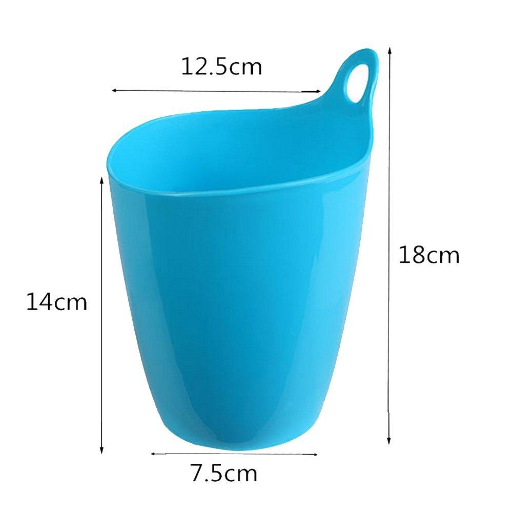 Da.Wa Creative Mini Trompette Bureau poubelles de Table en Plastique Stockage Tube dé bris Seau Fournitures Cuisine, Bleu