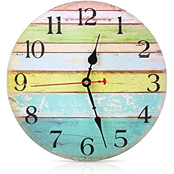 SOLEDI Vintage Rustic Wall Clock 12 Inch Wooden Arabic Numerals Silent Sweep Non-ticking Large Decorative for Living Room Office Bar Home Decor Tuscan Style (Ocean)