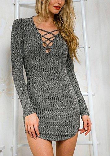 Damen Strickkleider Langarm Tiefen V-Ausschnitt Cocktaikleid Partykleid Minikleid Strandkleider Festkleid Kleider Etuikleider Grau