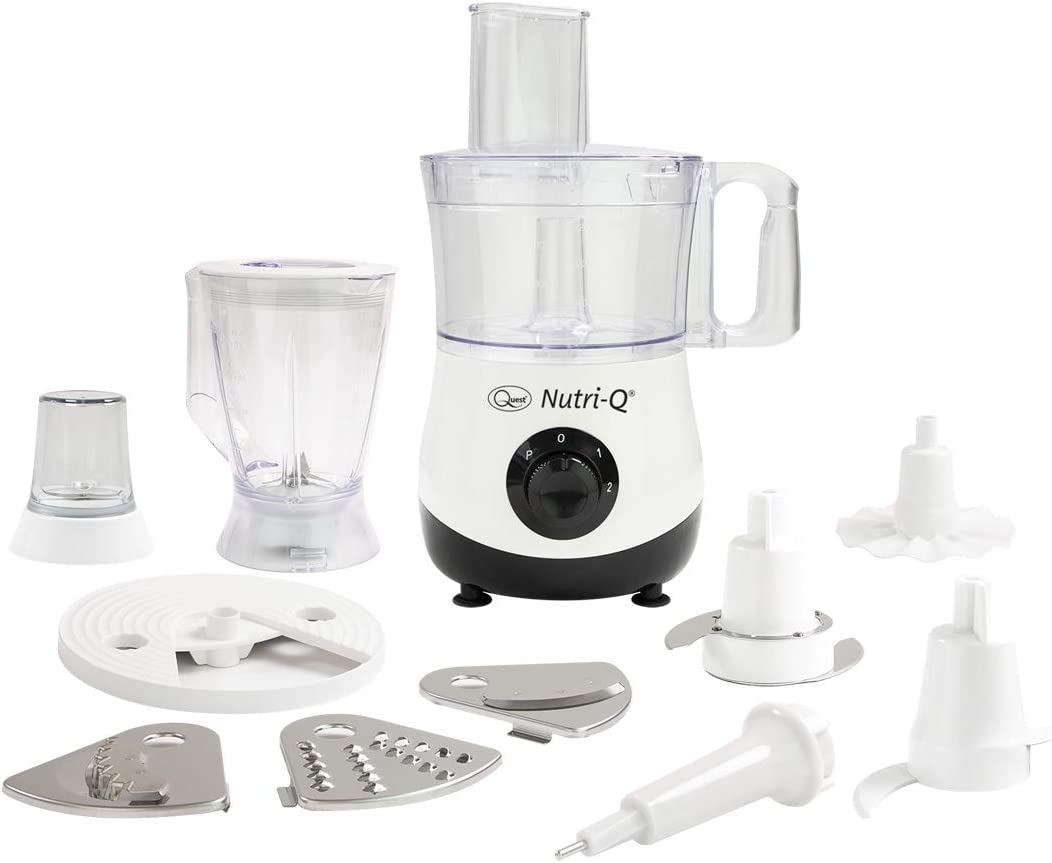 Nutri Q 34780 Food Processor Coffee Grinder Blender, Slices Shreds Grates Crushes Whips, White