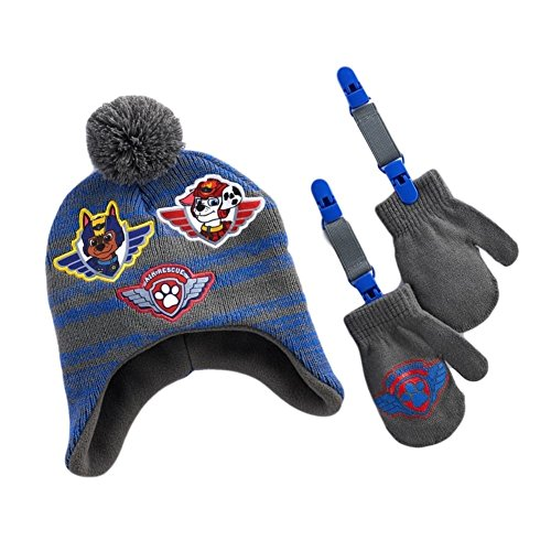 Chase and Marshall Paw Patrol Air Rescue Knit Cap and Mittens