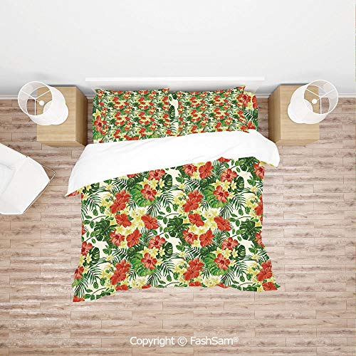 FashSam Duvet Cover 4 Pcs Comforter Cover Set Exotic Pattern with Plumeria Hibiscus Monstera Palm Flowers and Leaves for Boys Grils Kids(Double)