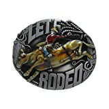 E-Clover Oval Unisex Engraved Western Cowboy Rodeo Bull Rider Country Belt Buckle (Style3)