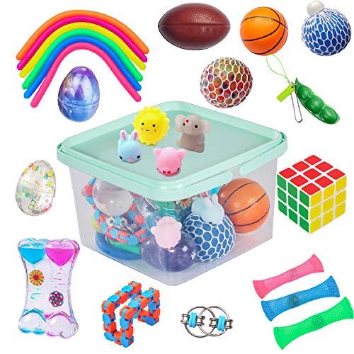 24 Pack Bundle Sensory Fidget Toys Set-Liquid Motion Timer/Grape Ball/Mochi Squishy/Stretchy String/Flippy Chain/Easter…