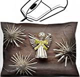 vintage angel figurines - MSD Mouse Wrist Rest Office Decor Wrist Supporter Pillow design 30451461 vintage toy angel figurine on weathered wooden table with straw snowflakes