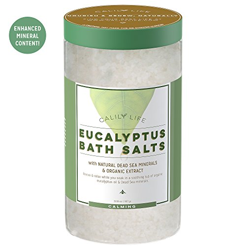 Pure Dead Sea Salt (Calily Life Organic Dead Sea Salt with Natural Pure Eucalyptus Essential Oil, 32 Oz. – Amazingly Luxurious and Therapeutic Bath Salt Soak – Purifies, Soothes, Rejuvenates Mind and Body [ENHANCED])