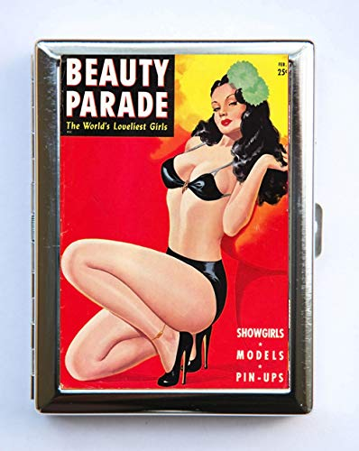 (Metal Cigarette Case Beauty Parade Showgirls Vintage Magazine Pin up Wallet)
