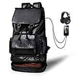 Leather Backpack For Men with USB Waterproof Large Capacity Backpack School College Bookbag Laptop Computer Backpack with Shoe Compartm Travel Bag Extra Capacity Casual Vintage Daypacks for Men(black)