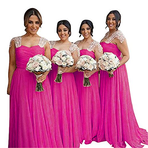 Weddder Line fuchsia Prom Dresses Dresses Long A Chiffon Pleated Empire B Waist Halter Bridesmaid xxvOSU