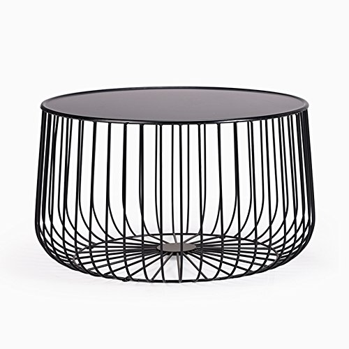 QL Simple Round Side Table - Pumpkin Style Coffee Table Modern Corner Table - Wrought Iron Coffee Table Bedside Table for Living Room Bedroom Home/Outdoor (Color : Black)