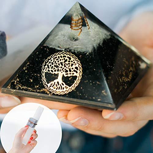 Shungite Orgone Pyramid – Orgonite Pyramids Healing Energy Generator for EMF Protection with Selenite Wand, Amethyst…