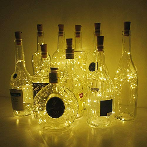 Wine Bottle Lights with Cork, 10 Pack Battery Operated LED Cork Shape Silver Copper Wire Colorful Fairy Mini String…