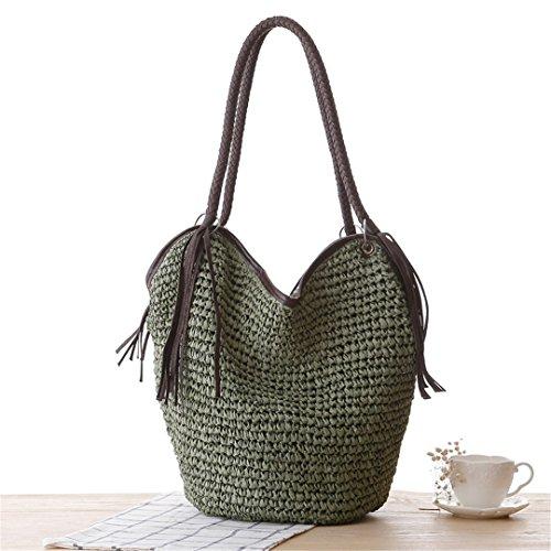 MANFDGABNGS Women Straw Handbag Tassel Female Summer Beach Hobos Bag Fashion Weave Lady Casual Tote Knitted Shoulder Bags SS3012 Green