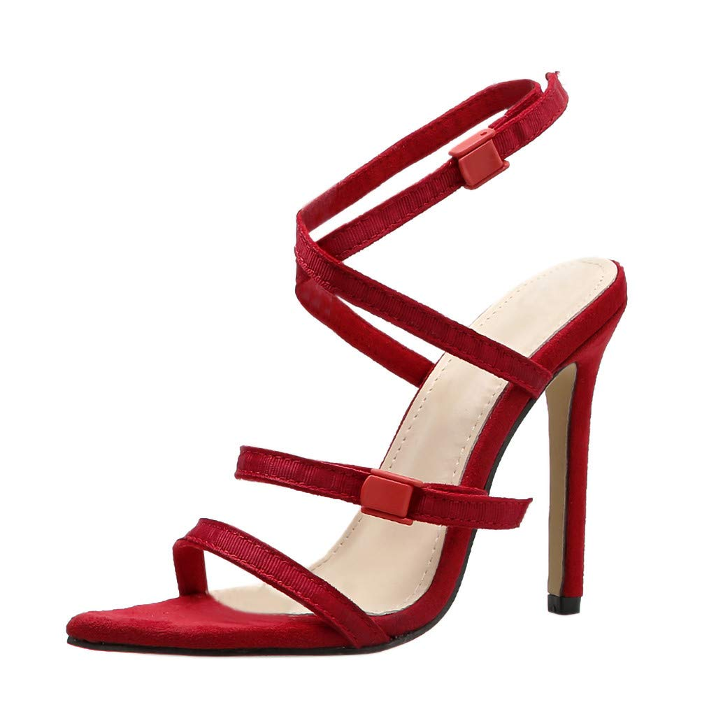 Women's Shoes for Women SYHKS Summer Women's Sexy Roman Ladies Party Prom Buckle Strappy Sandles for Women(Red,38)