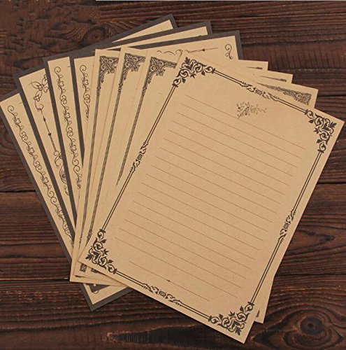 IMagicoo 64 Vintage Retro Cute Design Writing Stationery Paper Pad Letter Set (khaki-2)