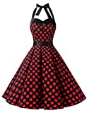 Dressystar Vintage Polka Dot Retro Cocktail Prom Dresses 50's 60's Rockabilly Bandage Black Red Dot XXXL