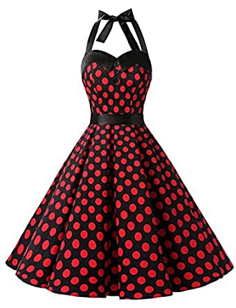 88f6ec5e646 Image Unavailable. Image not available for. Color  Dressystar Vintage Polka  Dot Retro Cocktail Prom Dresses 50 s 60 s Rockabilly Bandage ...