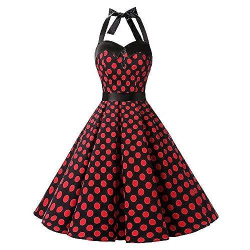 Dressystar Vintage Polka Dot Retro Cocktail Prom Dresses 50s 60s Rockabilly Bandage Black Red Dot M