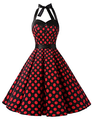 Dressystar Vintage Polka Dot Retro Cocktail Prom Dresses 50's 60's Rockabilly Bandage Black Red Dot ()