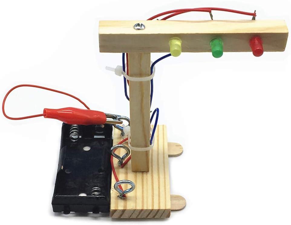 KKmoon Madera Semáforos Kit de Bricolaje Juguete, para Niños Kit de Bricolaje, para Niños Ciencia y Tecnología Inventos Ensamblado Experimento Modelo de Bricolaje Kits