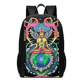 Chakra Meditation Girl Charm Theme Picture Pattern Printed Bookbag Book Back Middle School Bag Backpack Travel Hiking Mini Gym Gear Girls Boy Teen Women Kid Men Gift