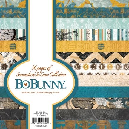 Bo Bunny Somewhere in Time Paper Pad, 6 by 6-Inch, 36-Pack
