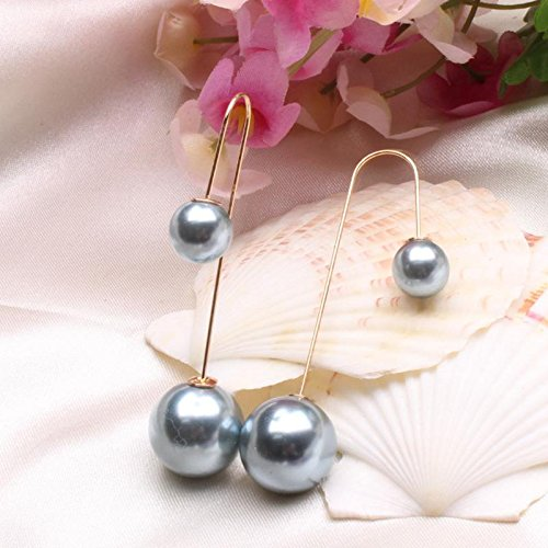 TR.OD Pearl Drop Dangle Earring Double-Sided Earrings Jewelry Wine red HITTIME