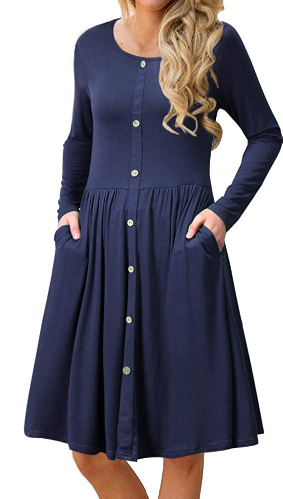decc086a5afd A Line Buttons Down Flowy Dress. Long Sleeve, Round-Neck, Swing Dress for  Women Clothes for all-purpose: It can match with  boots/coat/hats/leggings/strappy ...