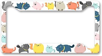 Fhdang Decor Handgezeichnetes Cartoon Katzen Muster Bunt Niedliches Haustier Haustier Haustier Katzen Figur Mütter Papa Nummernschild Halterung Auto Zubehör 15 2 X 30 5 Cm Auto