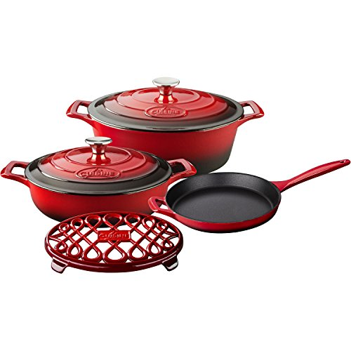 6 Piece Enameled Cookware Set (La Cuisine LC 2900MB 6 Piece Pro Enameled Cast Iron Oval Casserole/Trivet Cookware Set, Red)