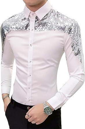 GRMO - Camisa de Vestir para Hombre, Manga Larga, Corte Ajustado, con Lentejuelas, Estilo Estilista: Amazon.es: Ropa y accesorios