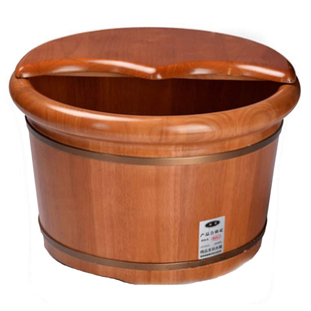 マッサージクッション オークフットバスバレル フットバスバレル フットマッサージ 浴槽ウォッシュフットバレル ペディキュアバレルふた付き+マッサージャー+フットパウダー 親の贈り物 (Color : Brown, Size : 41x21cm) B07TSD6M9B Brown 41x21cm