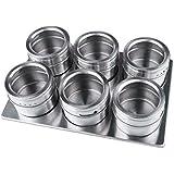 NHSunray Paquete de 6 Magnética tarro de la especia de acero inoxidable con estante multiusos frasco palillo de cualquier superficie de metal plana, para todos condimentos y especias