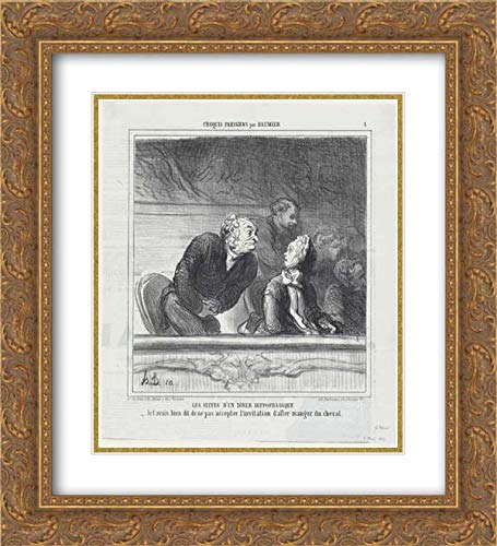 (Aaron Martinet - 28x32 Gold Ornate Frame and Double Matted Museum Art Print - Consequences of a horsemeat Dinner, from 'Parisian Sketches,' published in Le Charivari, April 8, 1865 )