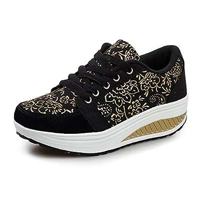 WYSBAOSHU Womens Breathable Walking Shoes Sports Running Sneakers(4 B(M) US,2-Black)