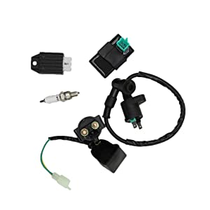 CNCMOTOK CDI Box Ignition Coil Solenoid Relay Voltage Regulator with Spark Plug Set of Five(5) for 50cc 70cc 90cc 110cc 125cc ATV Dirt Bike and Go Kart