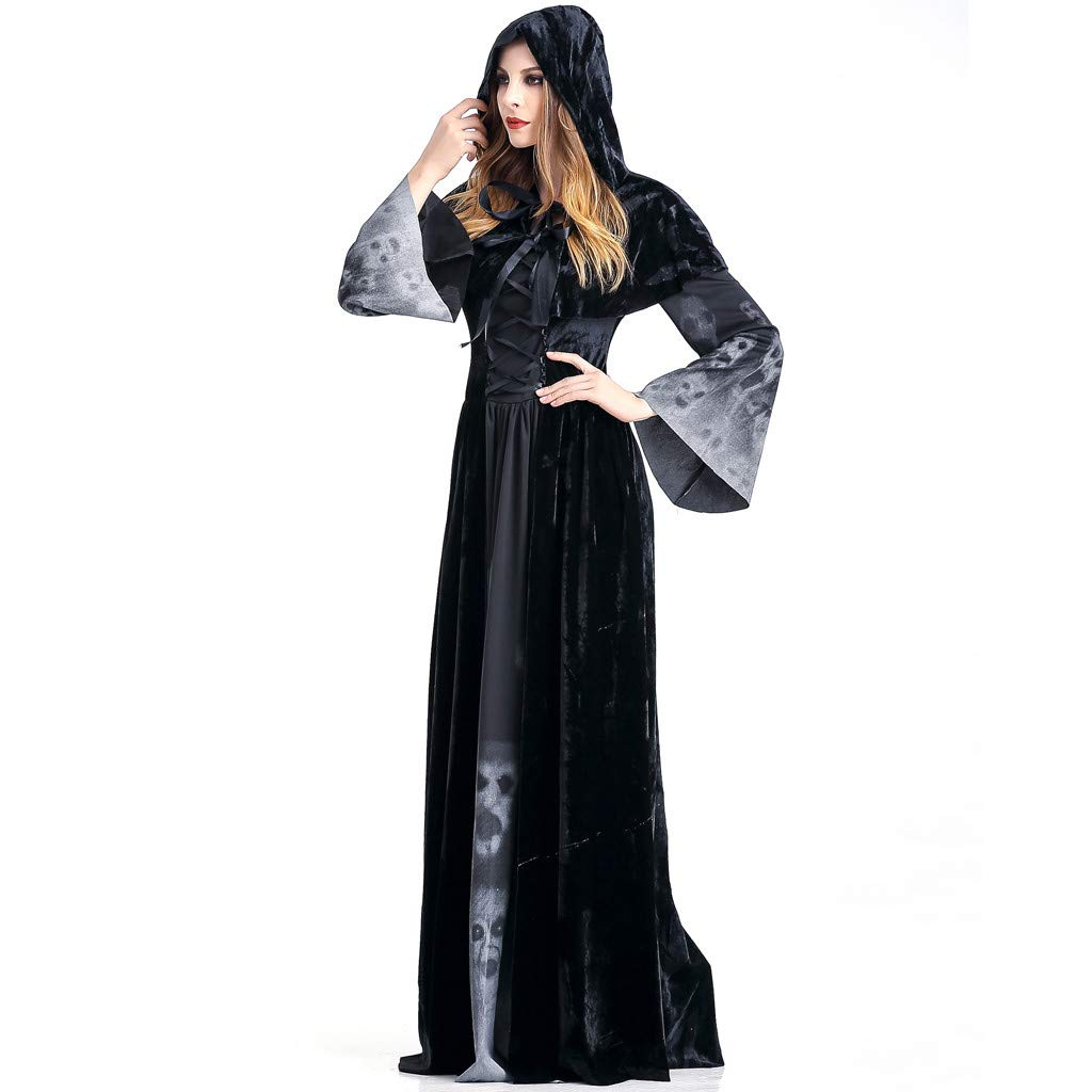 Womens Halloween Cosplay Costume,Sorceress Haunted Costume Vintage Floor Length Dress Lace Up Masquerade Hoodie Outfits